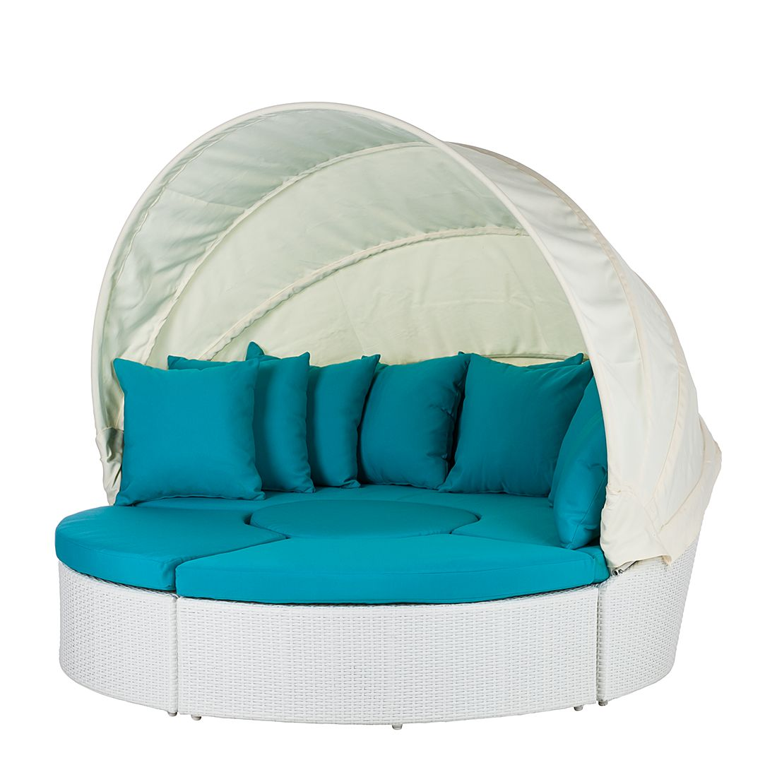 Sonneninsel White Comfort (4-teilig) - Polyrattan/Textil - Weiß/Türkis, Fredriks