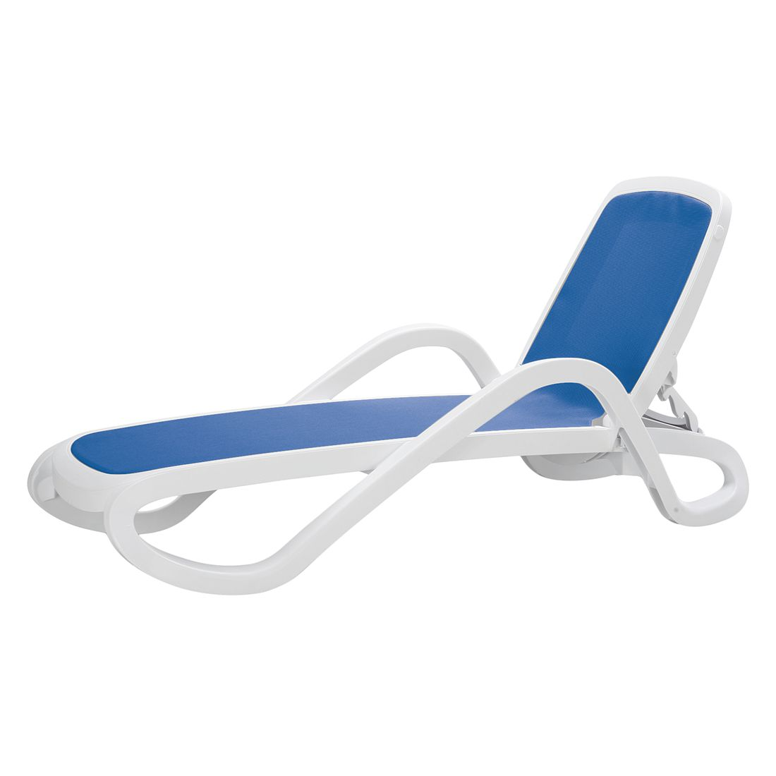 Sonnenliege Tongi - Kunststoff/Kunstfaser - Weiß/Blau, Best Freizeitmöbel