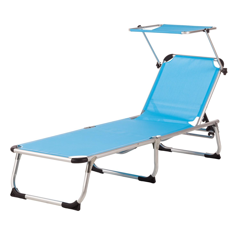 Ligstoel Summer Sun I - textileen/aluminium - Aquablauw, mooved