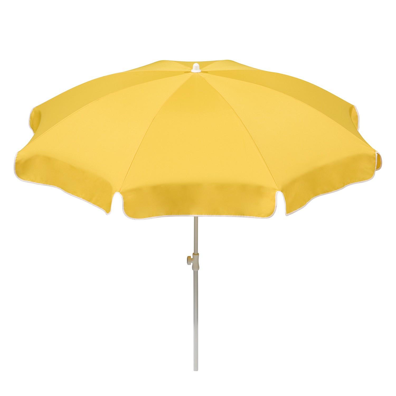Sonnenschirm Ibiza - Stahl/Polyester - Weiß/GoldGelb - Durchmesser: 200 cm, Schneider Schirme