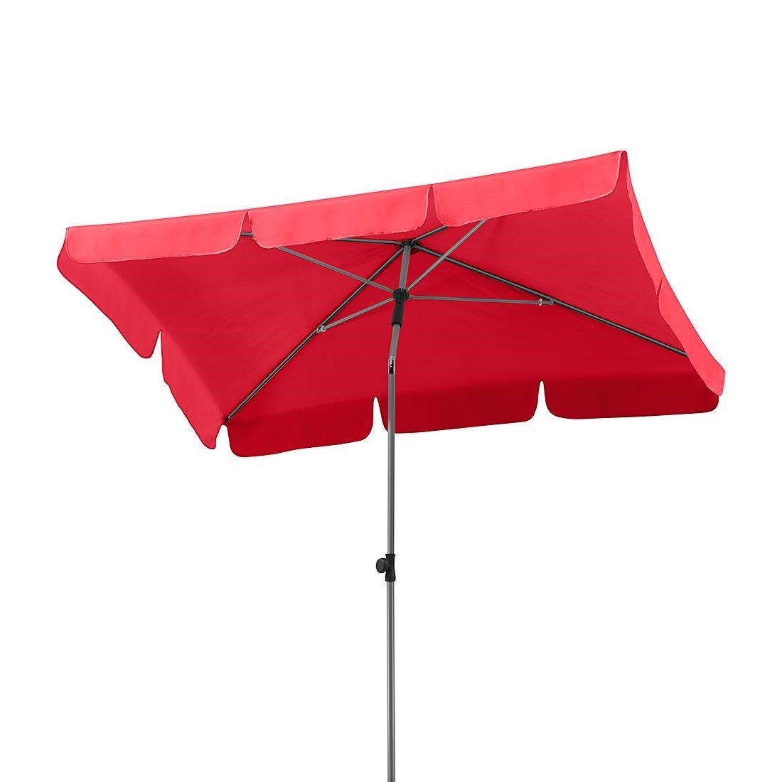 Home 24 - Parasol micco iii - acier / polyester - argenté / rouge, schneider schirme