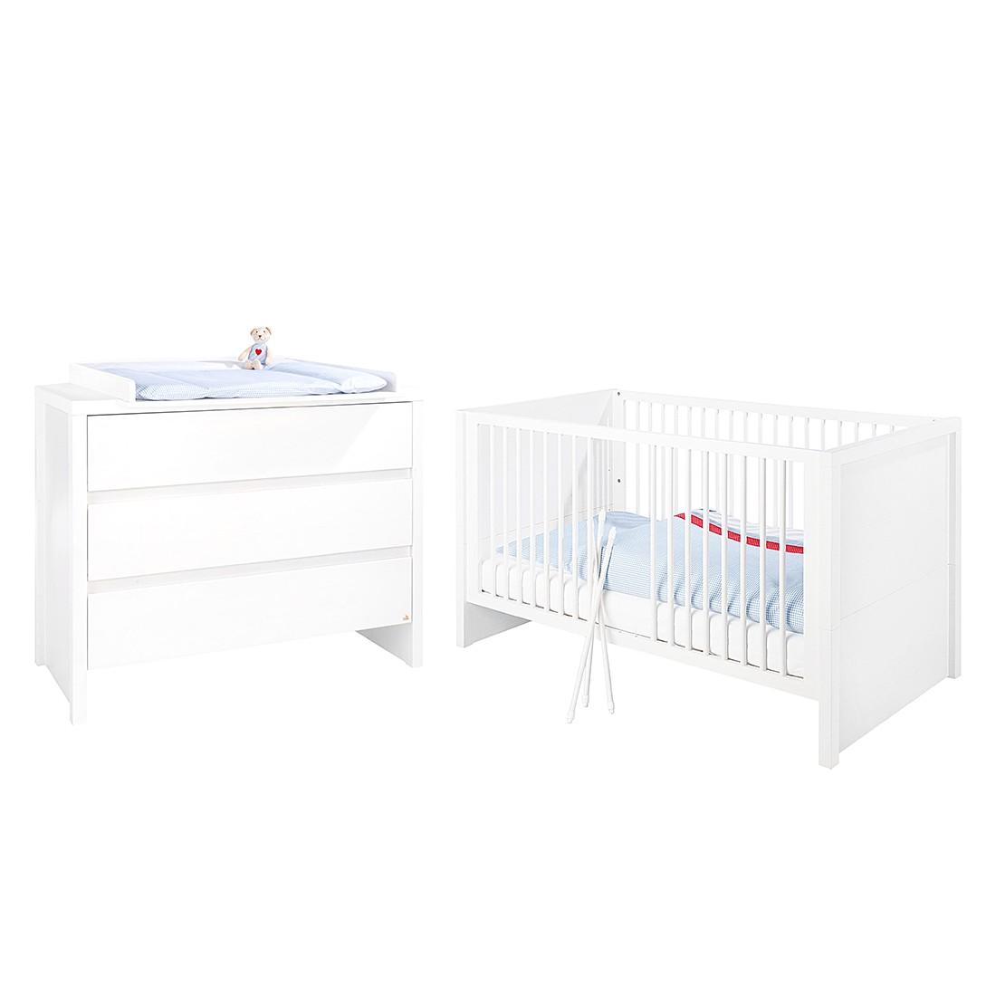 Ensemble économique pour chambre de bébé Aura - Sapin massif - Blanc, Pinolino