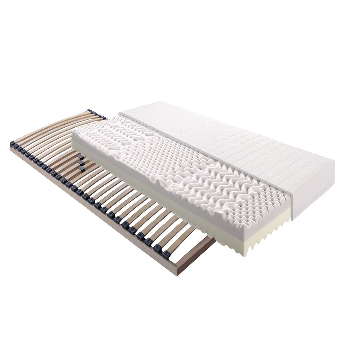 Ensemble matelas 7 zones en mousse ''duo'' Exlusive Sleep et sommier à  lattes Sirius - 90 x 200cm,