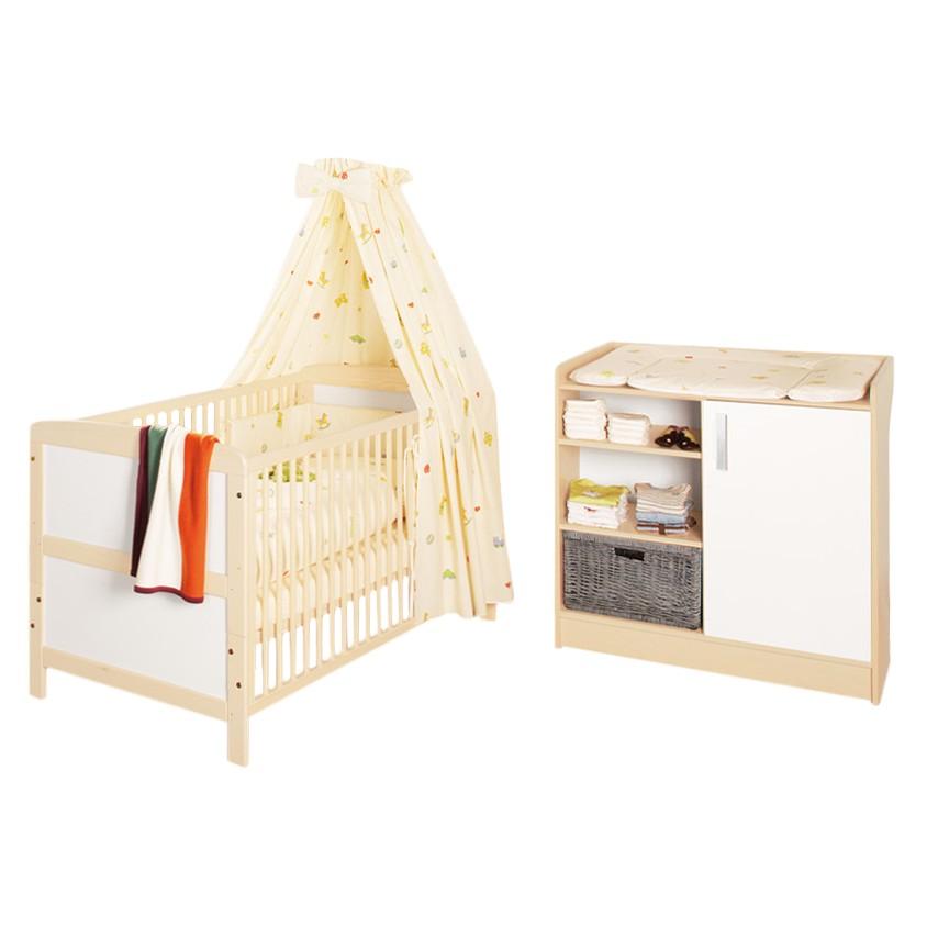 Home 24 - Set économique florian (2 éléments) - lit pour bébé et meuble à langer, pinolino