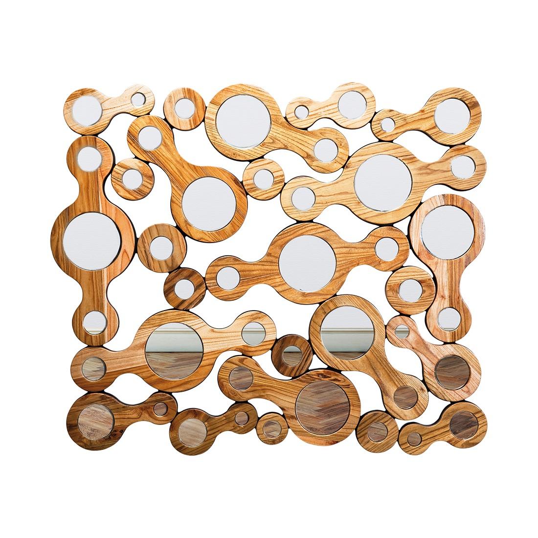 Driehoekige spiegel Locomotive - massief trompetboomhout - bruin/spiegelglas, Kare Design