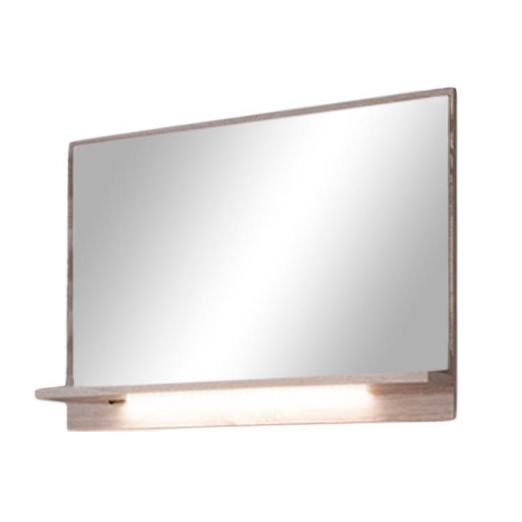 Spiegel Lorica - licht eikenhoutimitatie/crèmekleurig/hoogglans wit - verlichting inbegrepen, Modoform