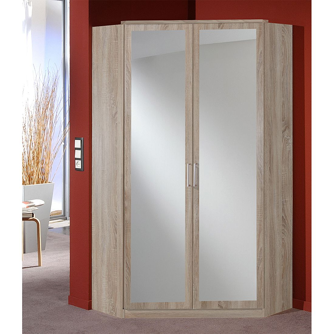Eckkleiderschrank mit spiegel  Eckschrank Click (mit Spiegel) - Eiche Sägerau Dekor | Home24