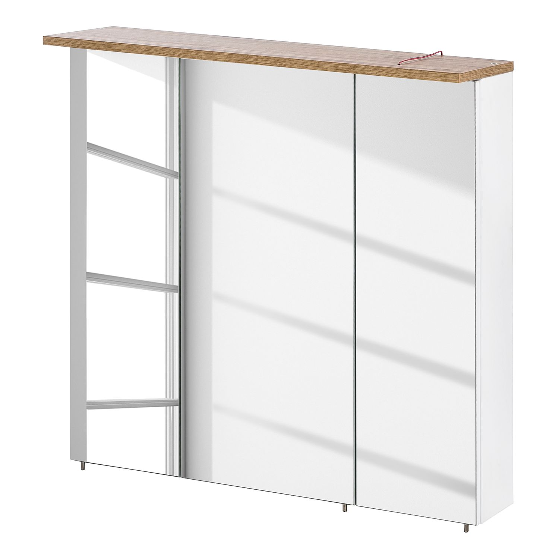 EEK A+, Armoire à miroir Capri (avec éclairage) - Blanc mat / Imitation chêne, Schildmeyer