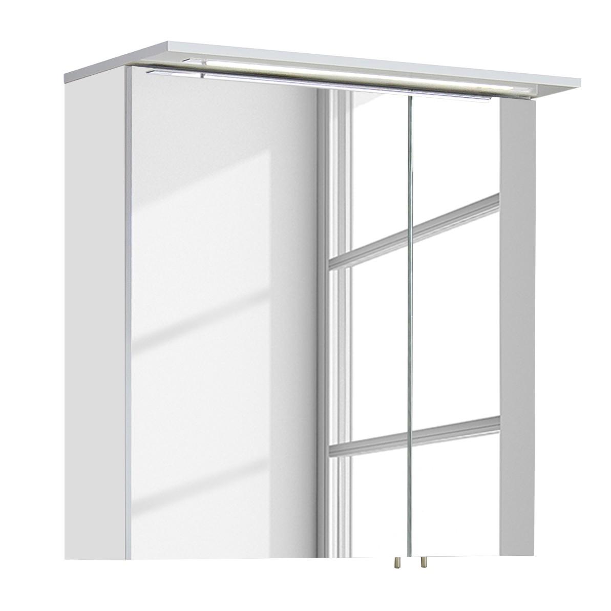 EEK A+, Armoire avec miroir Genf II (avec éclairage) - Blanc brillant, Schildmeyer
