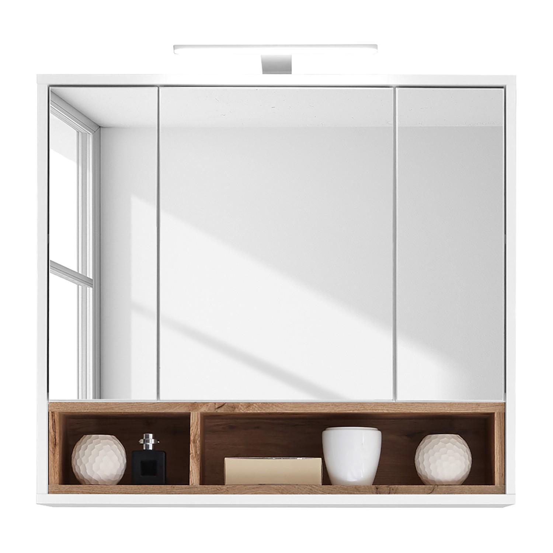 energia A+, Armadietto a specchio Guardo (illuminazione incl.) - bianco / effetto quercia selvatica, Fredriks