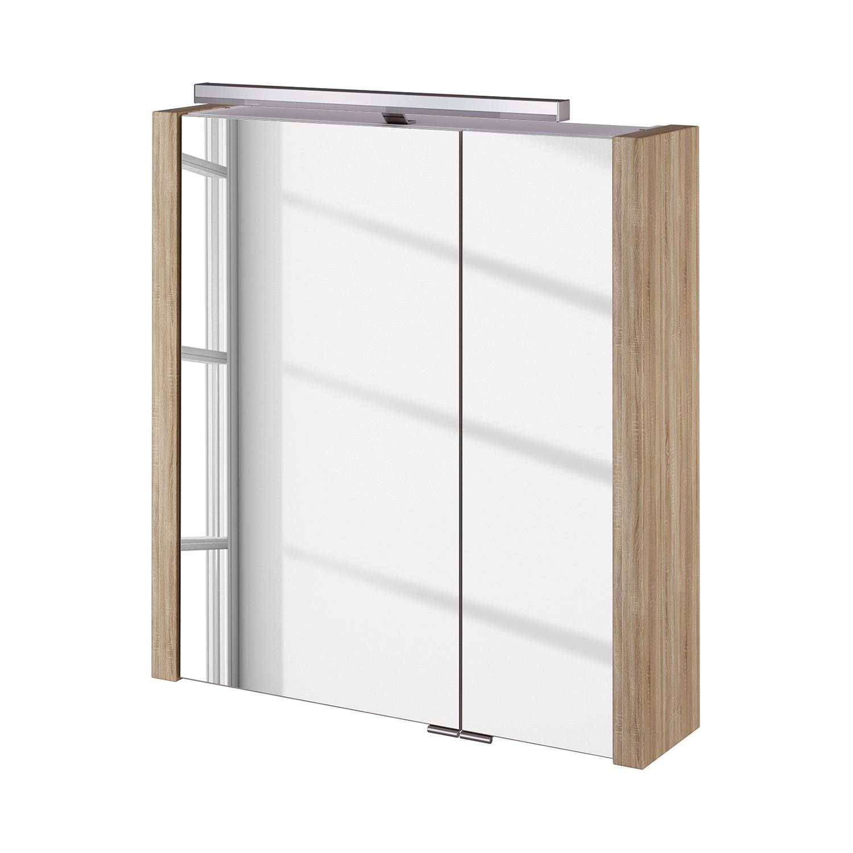 energia A+, Armadietto a specchio Kolind - Con illuminazione Bianco lucido con kolind I inclusa Effetto quercia di Sonoma, Schildmeyer