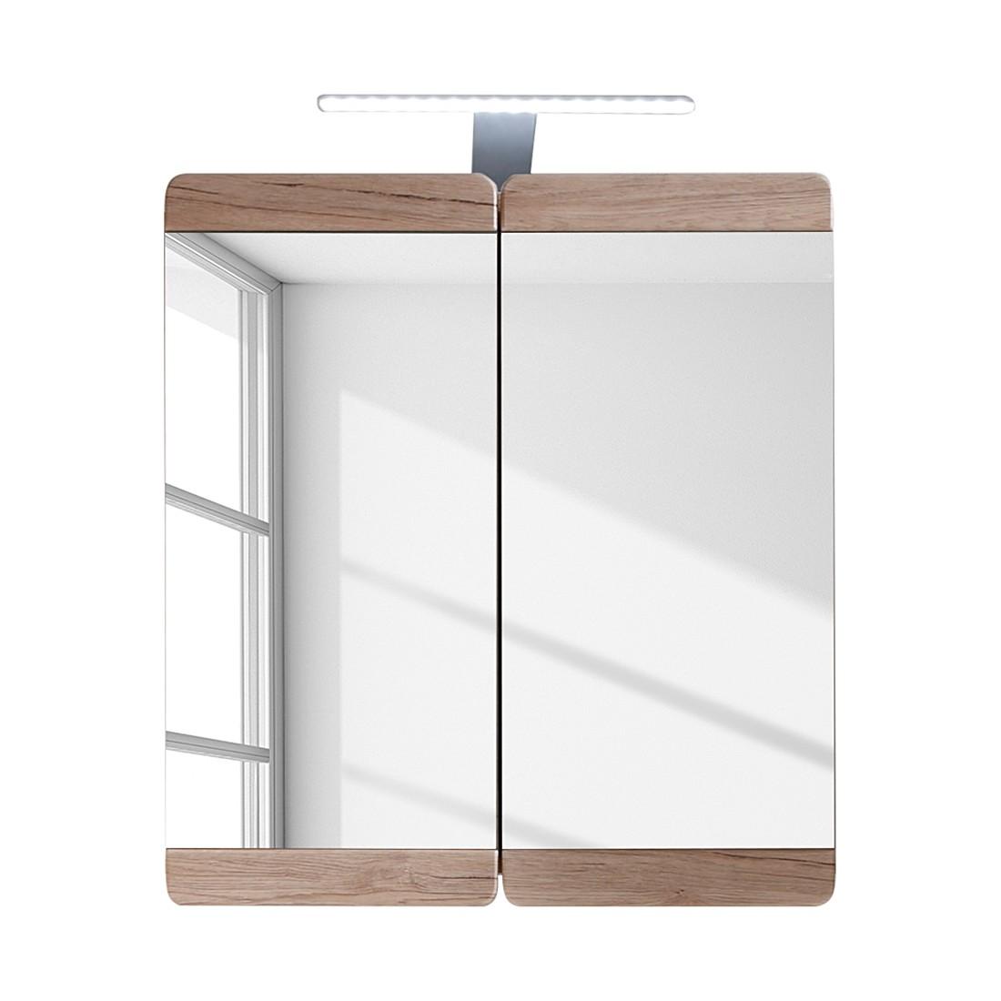 EEK A+, Armoire avec miroir Lamea - Imitation chêne de San Remo - Sans éclairage, Fredriks