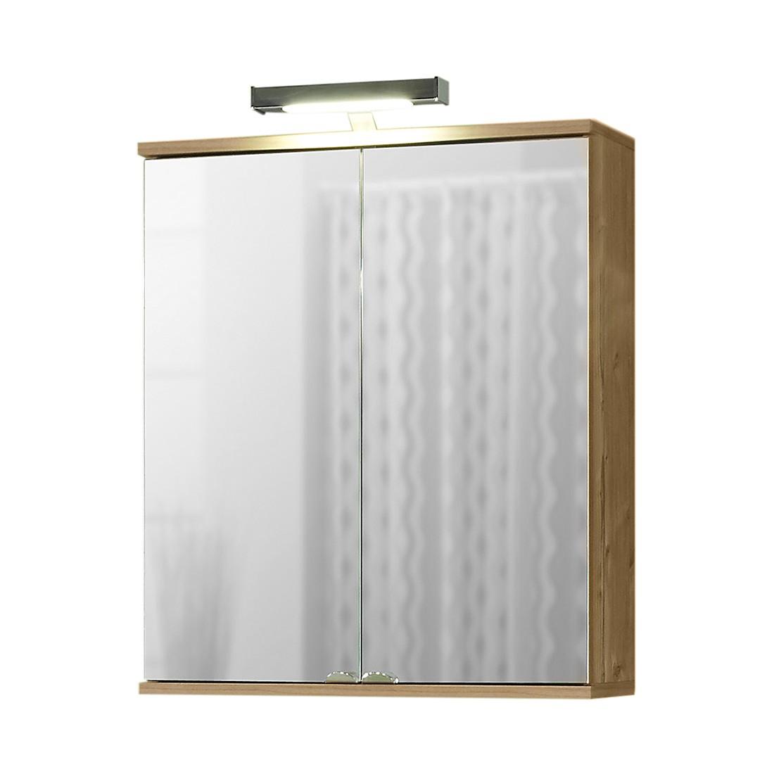energia A+, Armadietto a specchio Welnezz - Inclusivo di illuminazione LED- Color abete argentato, Schildmeyer