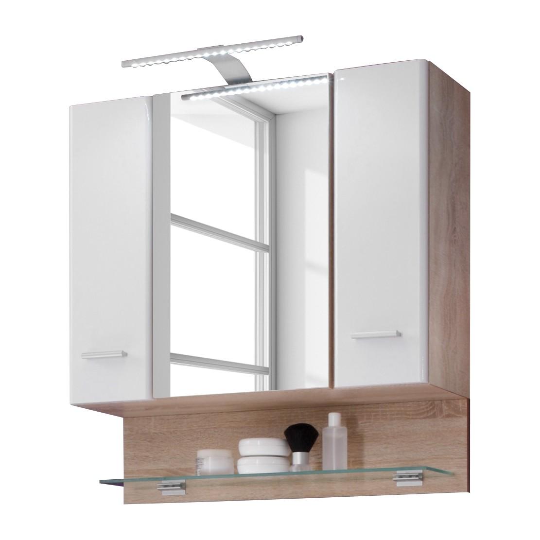 armoire de salle bain narrows avec clairage blanc brillant imitation ch ne de sonoma. Black Bedroom Furniture Sets. Home Design Ideas