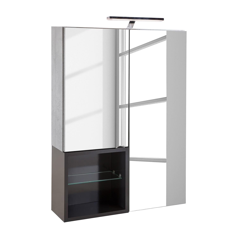 EEK A+, Armoire avec miroir Toronto (avec éclairage) - Gris minéral / Anthracite, Schildmeyer