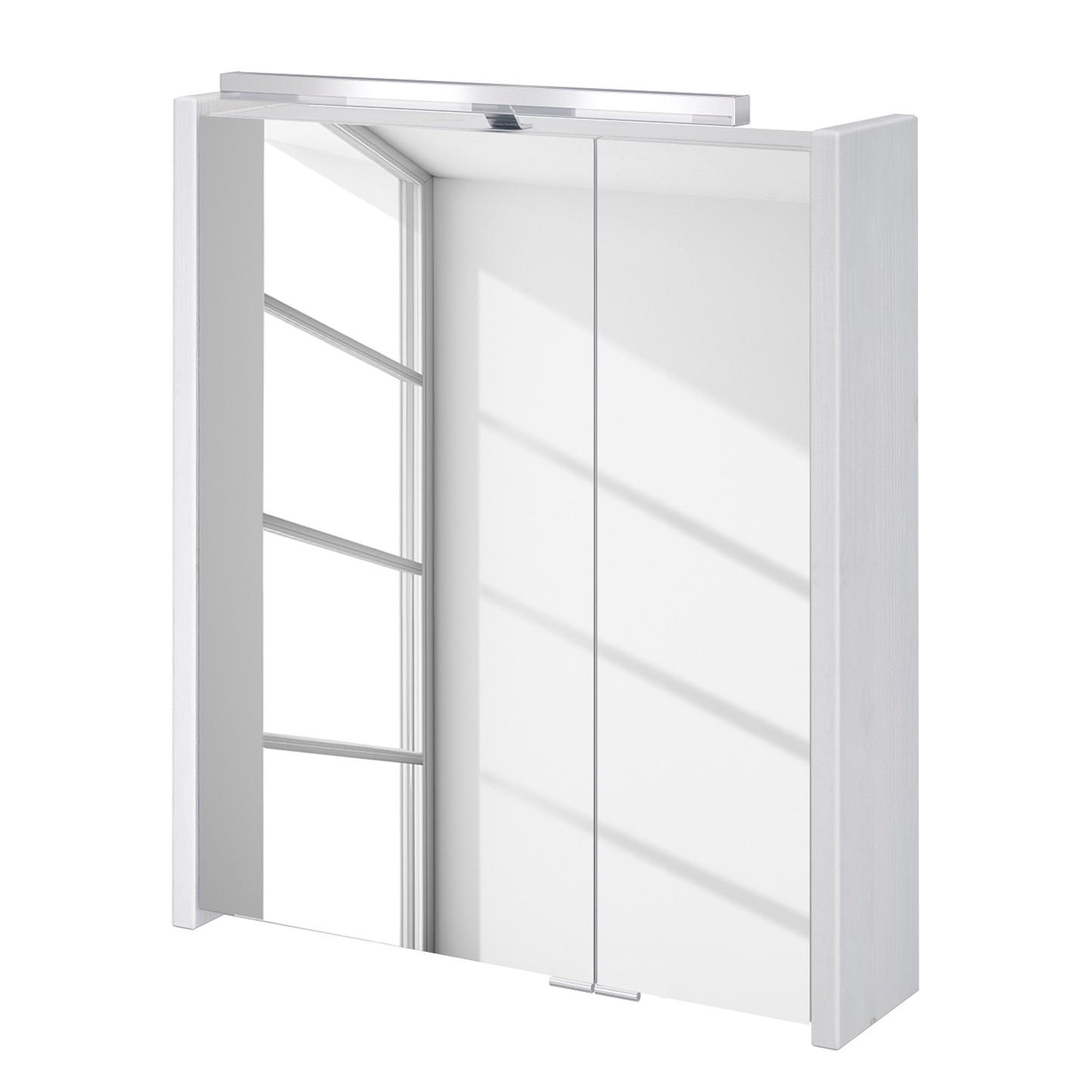energia A+, Armadietto a specchio in legno massello Tramore (illuminazione inclusa) - Bianco, Schildmeyer