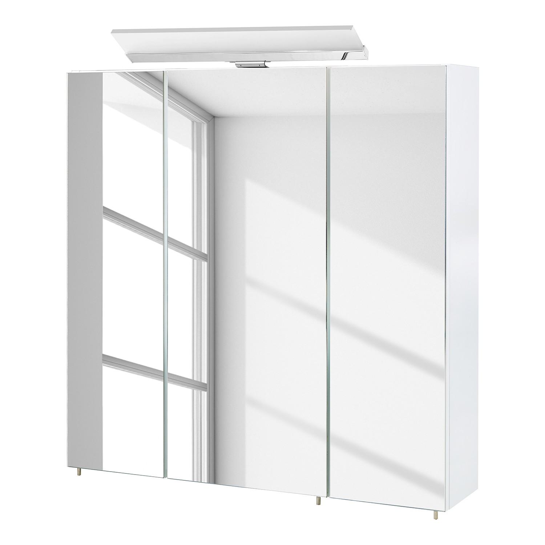 energia A+, Armadietto a specchio Venlo (illuminazione inclusa) - Bianco lucido - 70 cm, Schildmeyer