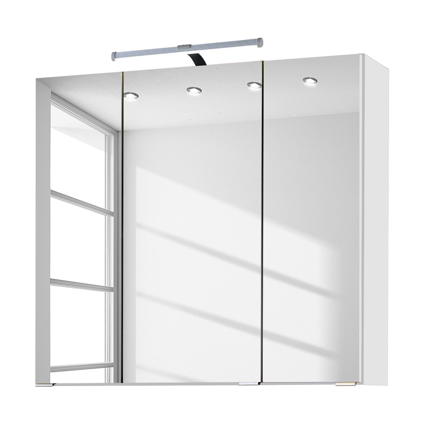 energia A+, Armadietto a specchio Zeehan - Bianco - 70 cm, Fredriks