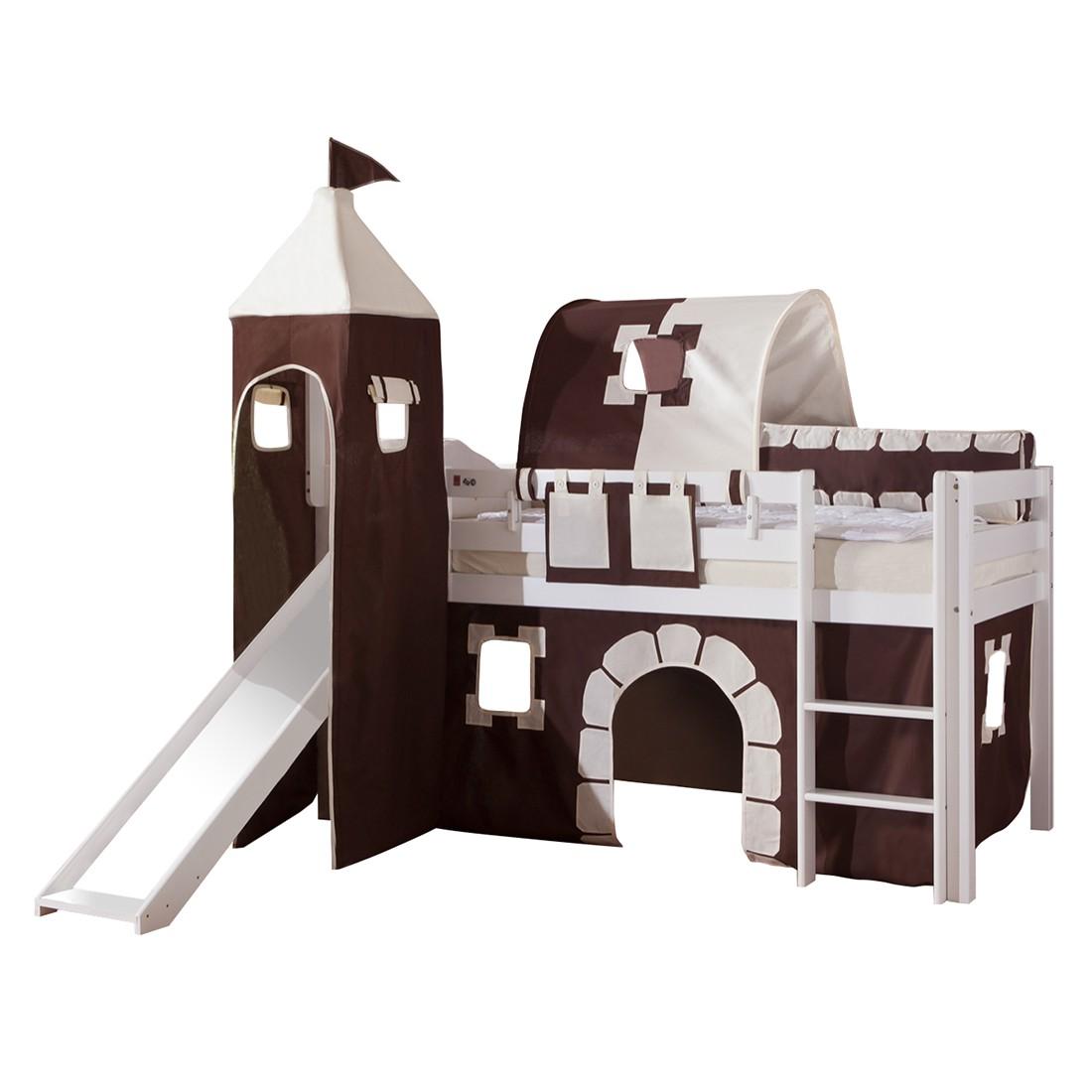 Spielbett Alex - mit Rutsche, Vorhang, Turm, 1-er Tunnel und Tasche - Buche weiß/Textil Burg, Relita