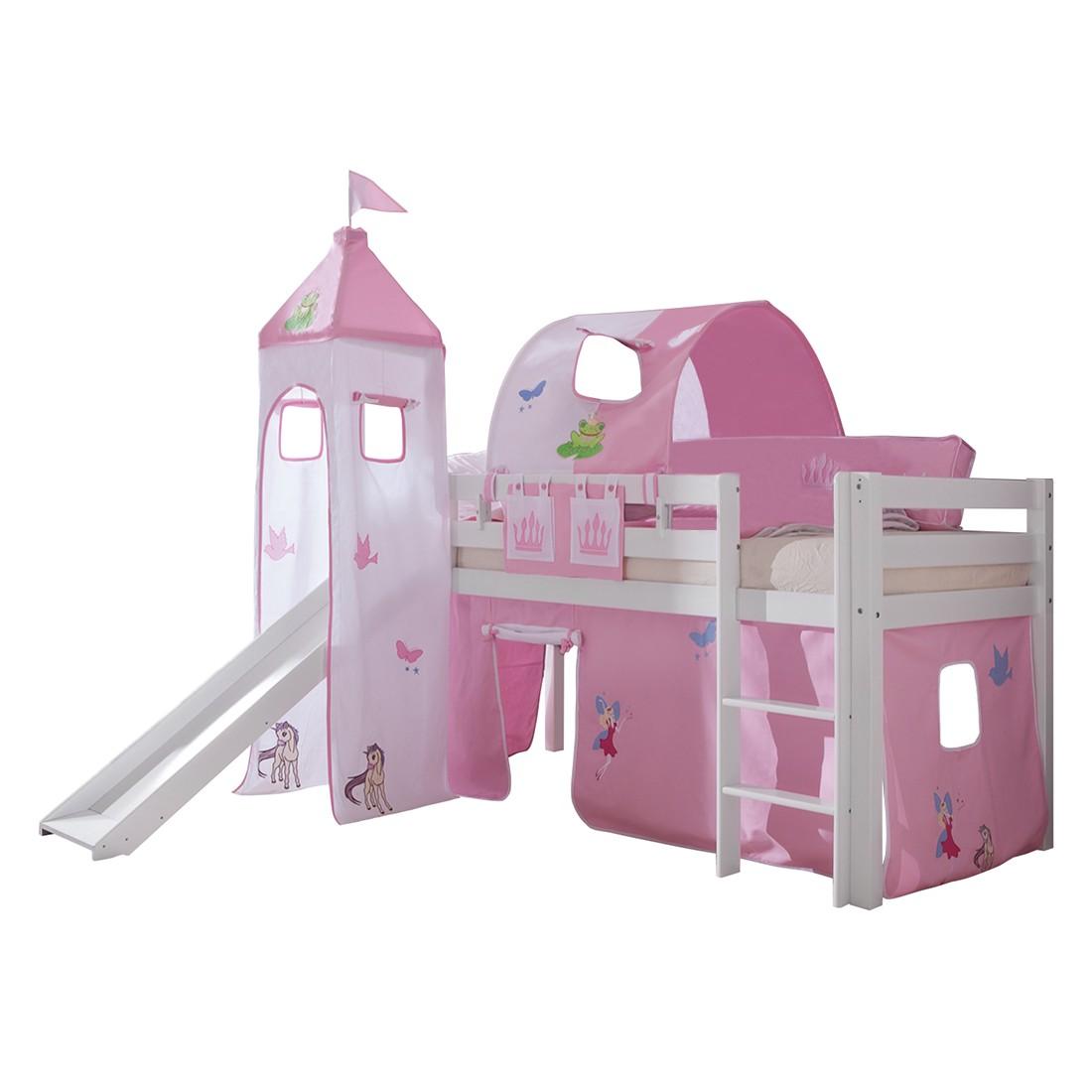 Spielbett Alex - mit Rutsche, Vorhang, Turm, 1-er Tunnel und Tasche -Buche weiß/Textil Princess, Relita