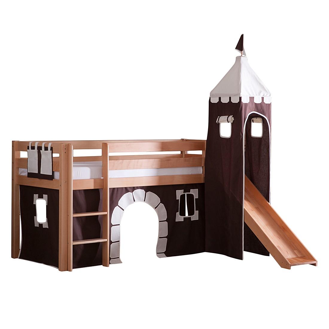 Spielbett Alex - mit Rutsche, Vorhang, Turm und Tasche - Buche Natur/Textil Burg, Relita