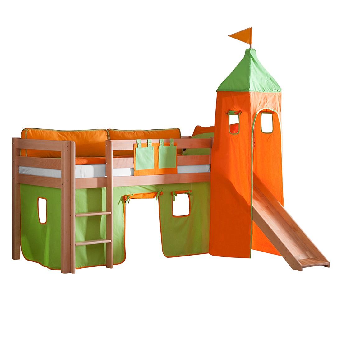 Spielbett Alex - mit Rutsche, Vorhang, Turm und Tasche - Buche natur/Textil grün-orange, Relita
