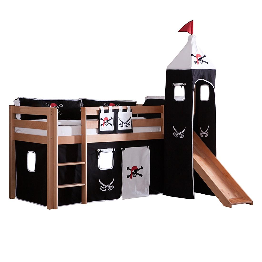 Spielbett Alex - mit Rutsche Vorhang, Turm und Tasche - Buche natur/Textil Pirat, Relita