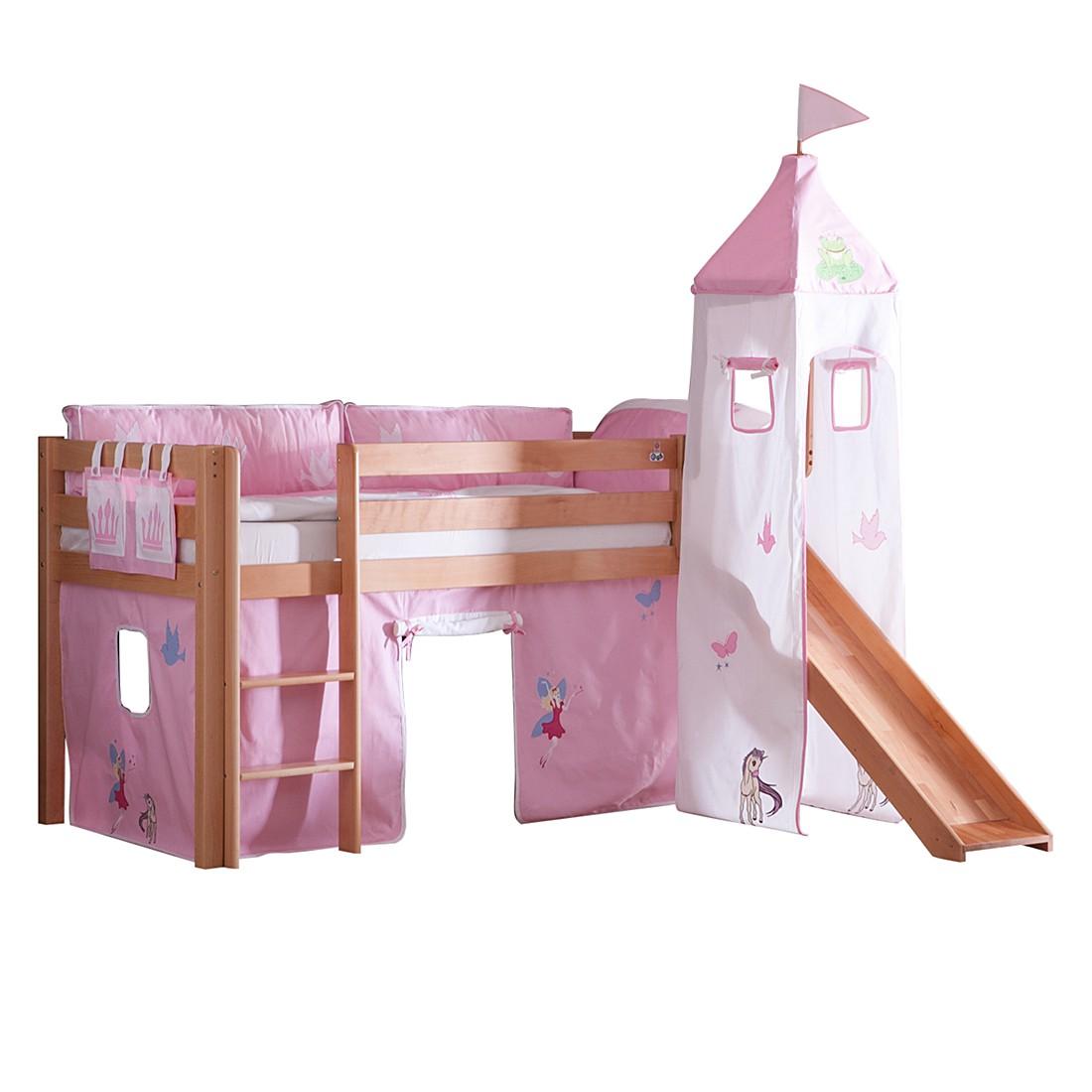 Spielbett Alex - mit Rutsche, Vorhang, Turm und Tasche - Buche natur/Textil Princess, Relita