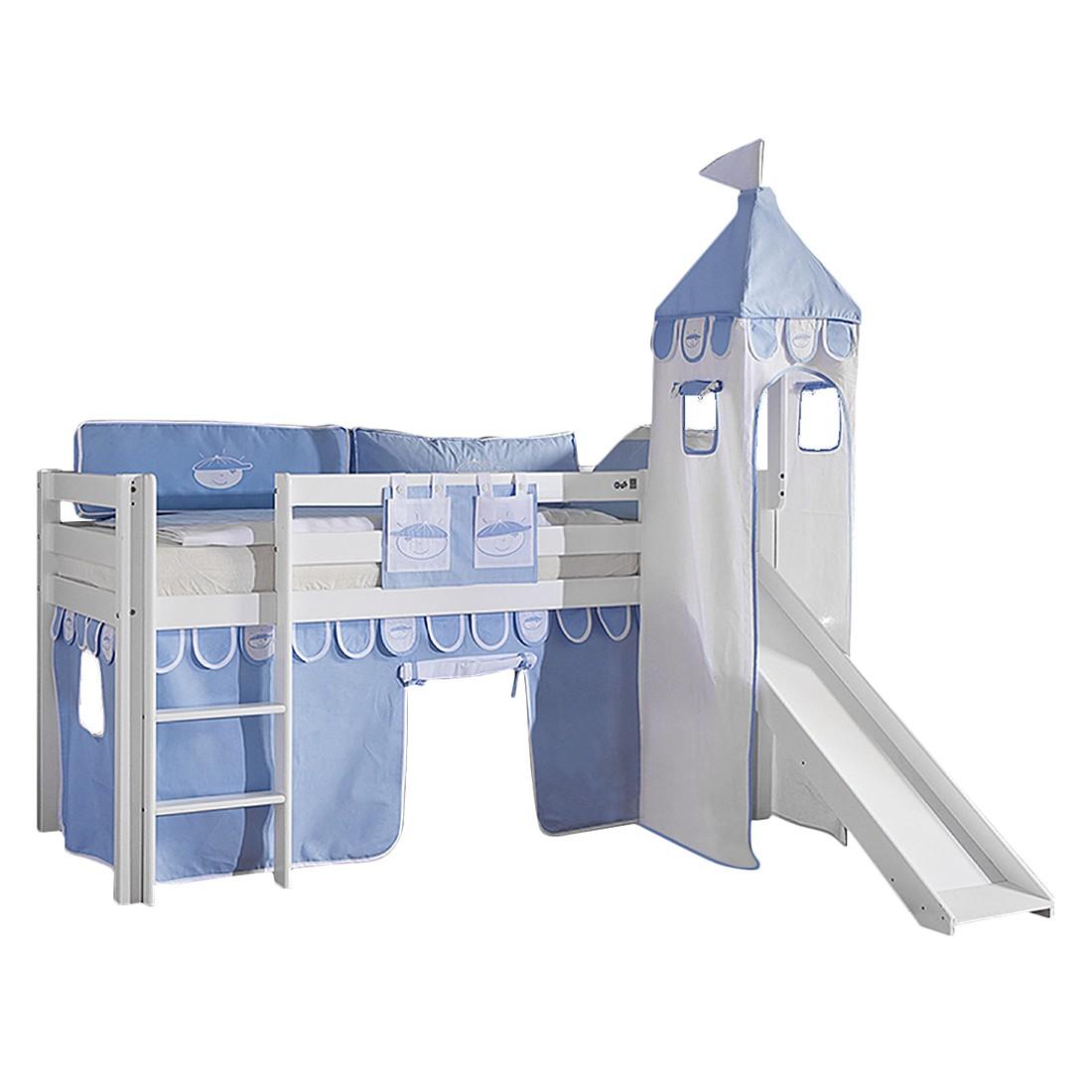 Spielbett Alex - mit Rutsche, Vorhang, Turm und Tasche - Buche weiß/Textil Blau-Boy, Relita