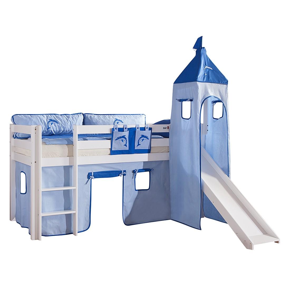 Spielbett Alex - mit Rutsche, Vorhang, Turm und Tasche - Buche weiß/Textil blau-delfin, Relita
