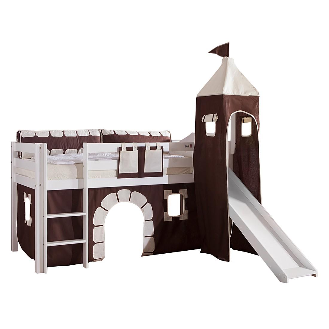 Spielbett Alex - mit Rutsche, Vorhang, Turm und Tasche - Buche weiß/Textil Burg, Relita