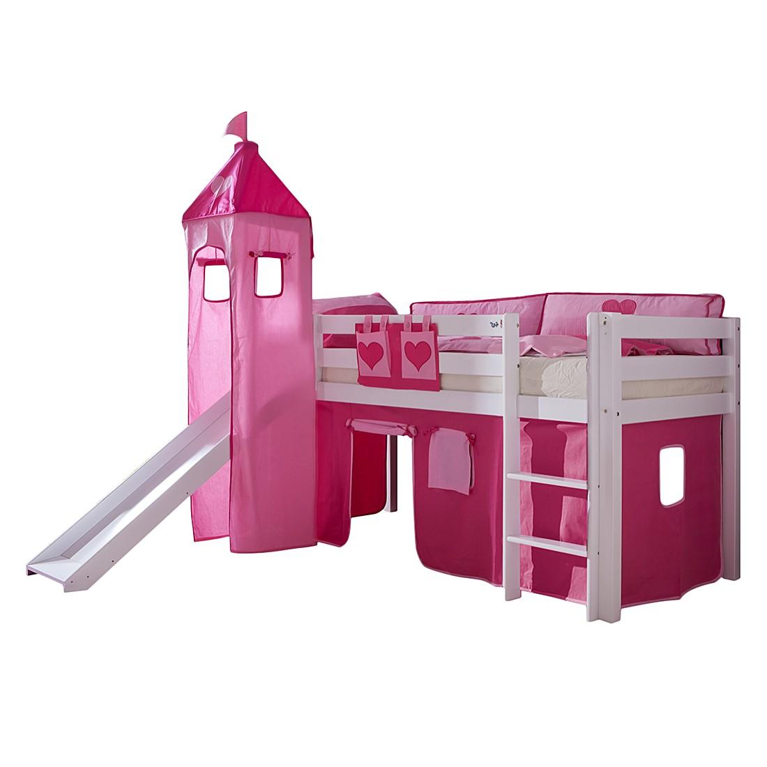 Spielbett Alex - mit Rutsche, Vorhang, Turm und Tasche - Buche weiß/Textil pink-herz, Relita
