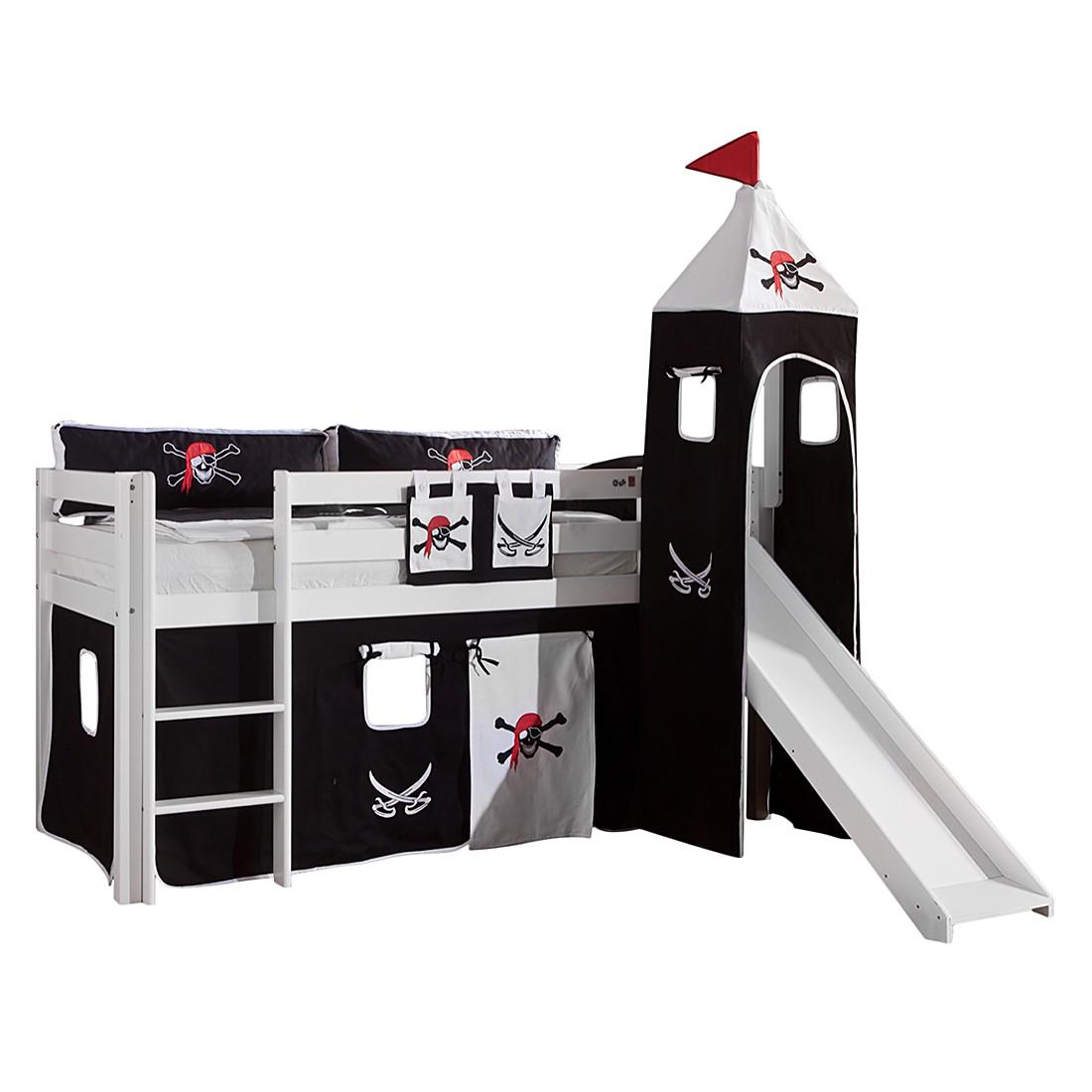 Spielbett Alex - mit Rutsche, Vorhang, Turm und Tasche Buche weiß/Textil Pirat, Relita