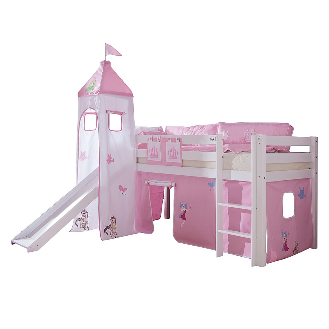 Spielbett Alex - mit Rutsche, Vorhang, Turm und Tasche - Buche weiß/Textil Princess, Relita