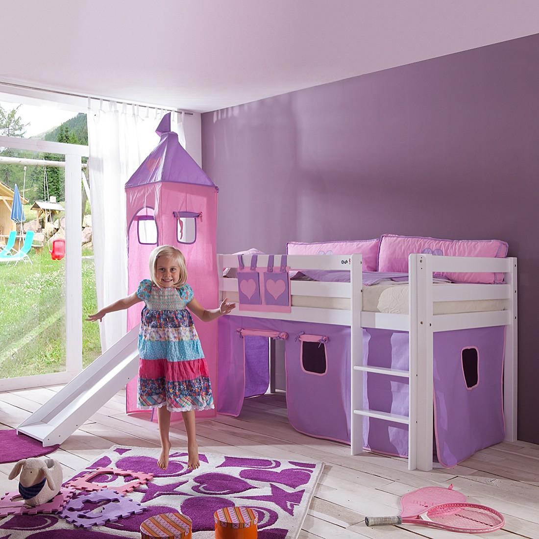 Spielbett Alex - mit Rutsche, Vorhang, Turm und Tasche Buche weiß/Textil purple-rosa-herz, Relita
