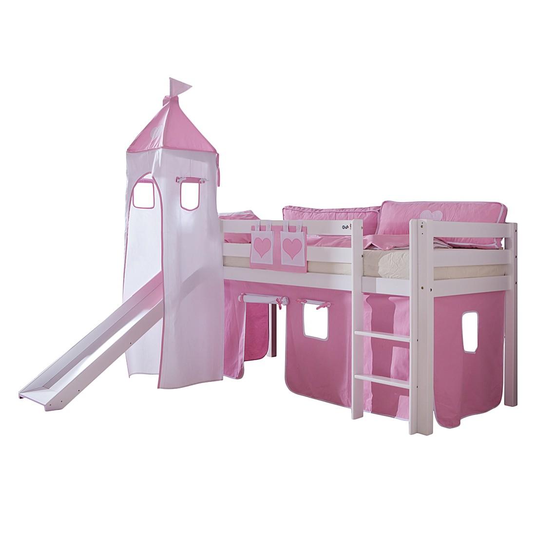 Spielbett Alex - mit Rutsche, Vorhang, Turm und Tasche - Buche weiß/Textil rosa-weiß-herz, Relita