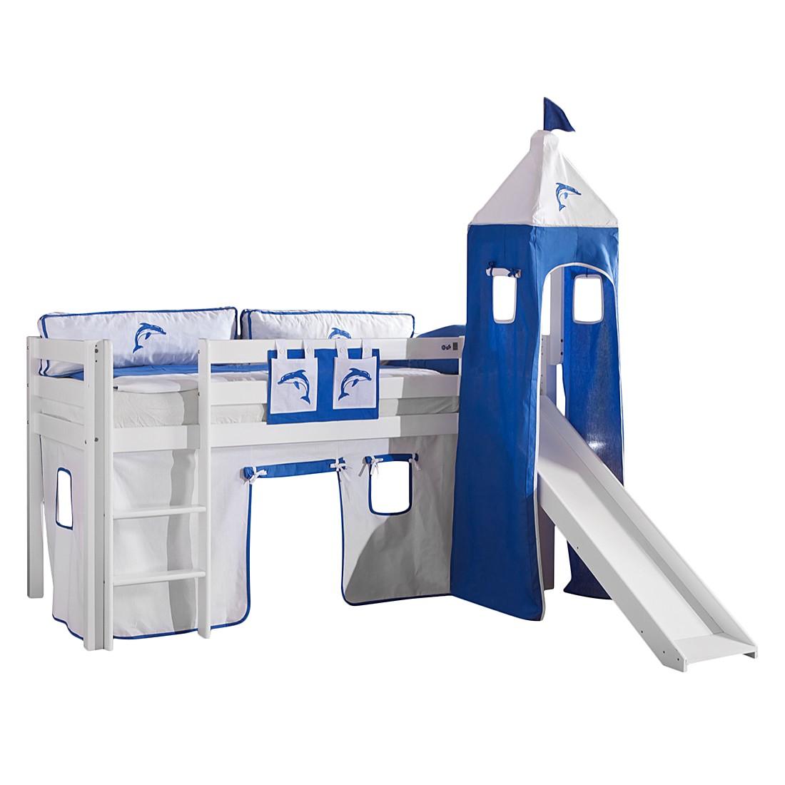Spielbett Alex - mit Rutsche,Vorhang, Turm und Tasche - Buche weiß/Textil weiß-delfin, Relita