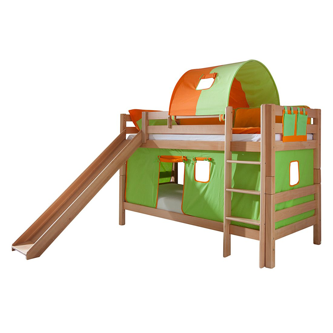 Spielbett Beni - Buche massiv - Natur lackiert/Textil Grün-Orange - mit Rutsche, Vorhang, Tunnel und Tasche, Relita