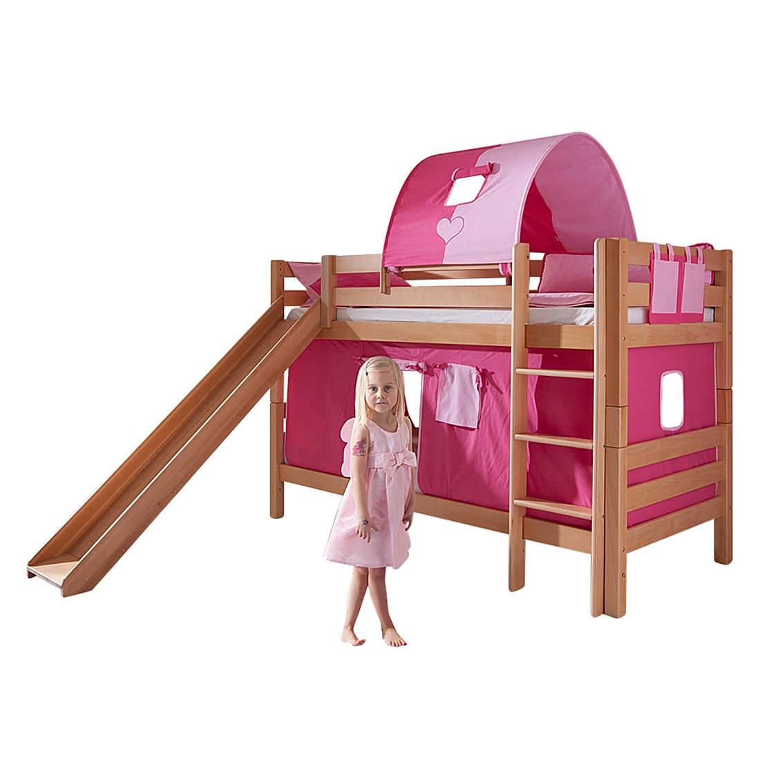 Spielbett Beni - Buche massiv - Natur lackiert/Textil Pink-Rosa - mit Rutsche, Vorhang, Tunnel und Tasche -, Relita