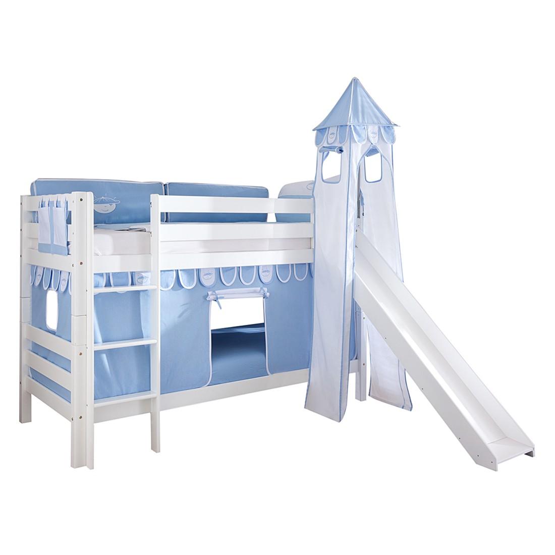 Spielbett Beni - mit Rutsche, Vorhang, Turm und Tasche - Buche massiv weiß lackiert/Textil Blau-Boy, Relita