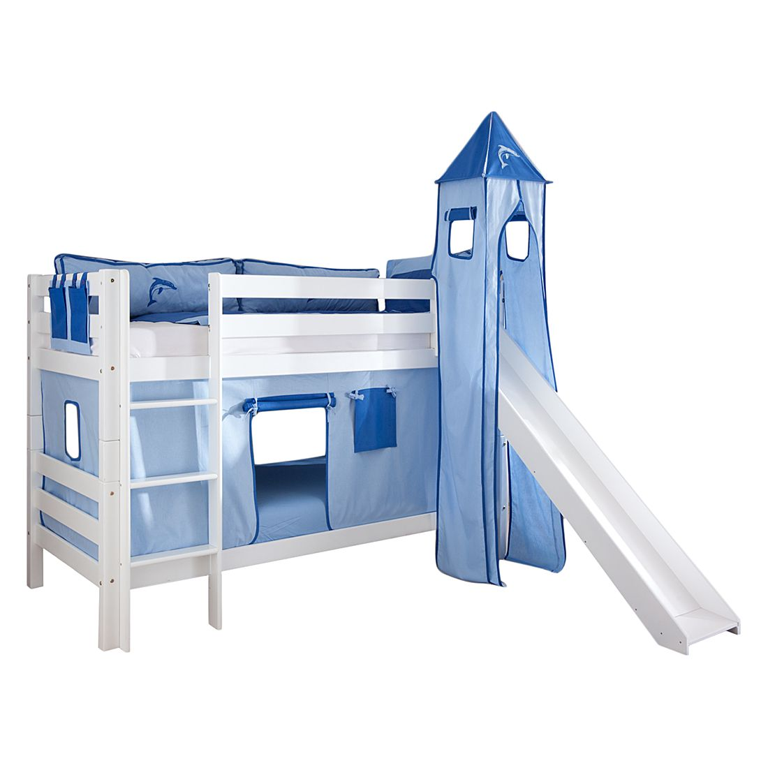 Spielbett Beni - mit Rutsche, Vorhang, Turm und Tasche - Buche massiv weiß lackiert/Textil blau-delfin, Relita