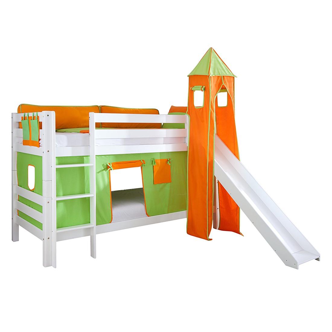 Spielbett Beni - mit Rutsche, Vorhang, Turm und Tasche - Buche massiv weiß lackiert/Textil grün-orange, Relita