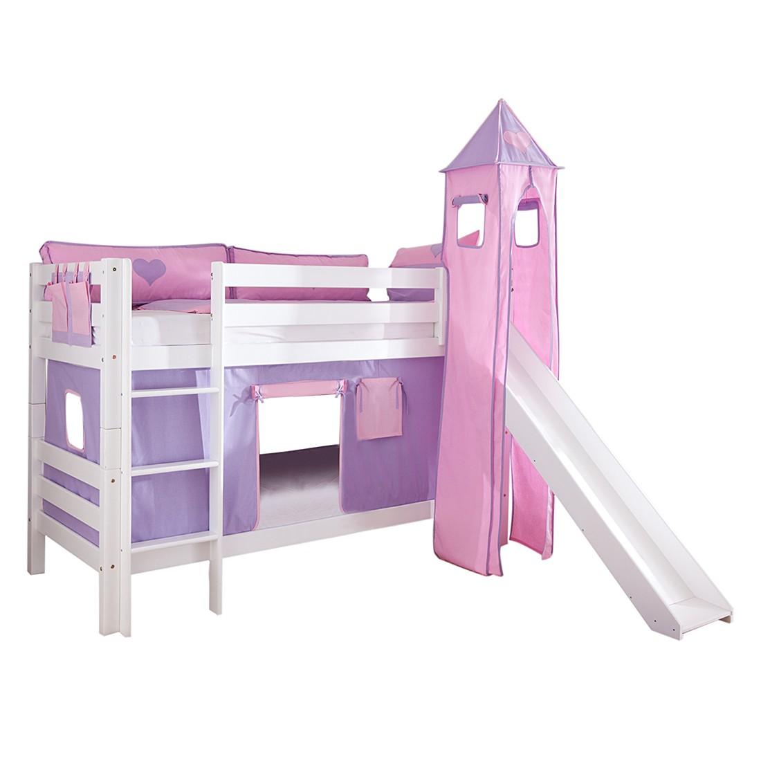 Spielbett Beni - mit Rutsche, Vorhang, Turm und Tasche - Buche massiv weiß lackiert/Textil purple-rosa-herz, Relita