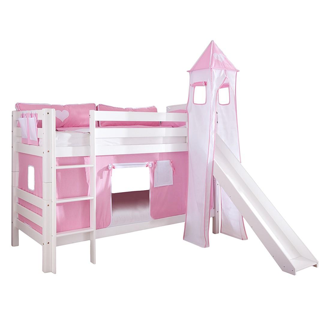 Spielbett Beni - mit Rutsche, Vorhang, Turm und Tasche - Buche massiv weiß lackiert/Textil rosa-weiß-herz, Relita
