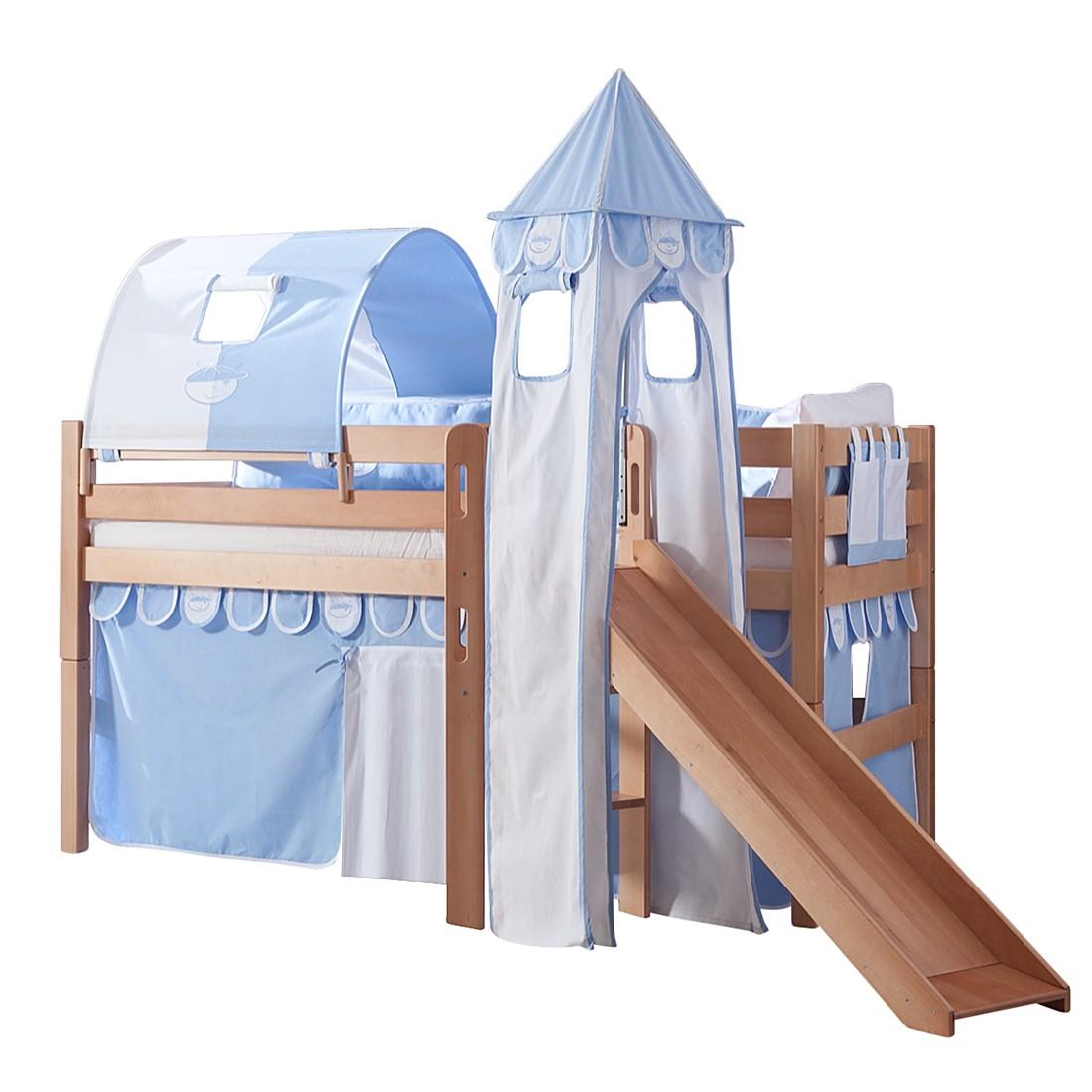 Spielbett Eliyas - mit Rutsche, Vorhang, Tunnel, Turm und Tasche - Buche natur/Textil Blau-Boy, Relita
