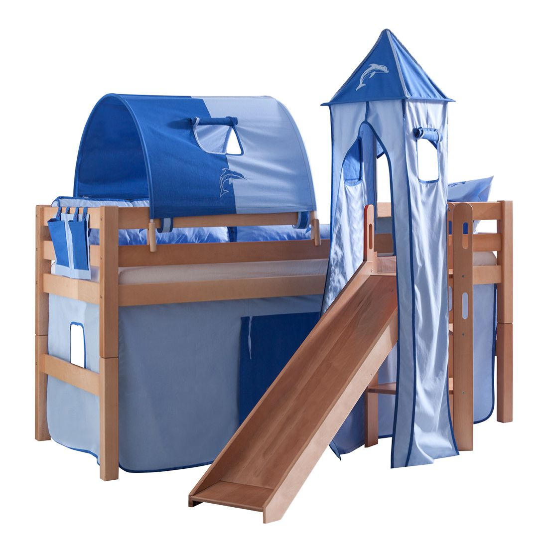 Spielbett Eliyas - mit Rutsche, Vorhang, Tunnel, Turm und Tasche - Buche natur/Textil blau-delfin, Relita