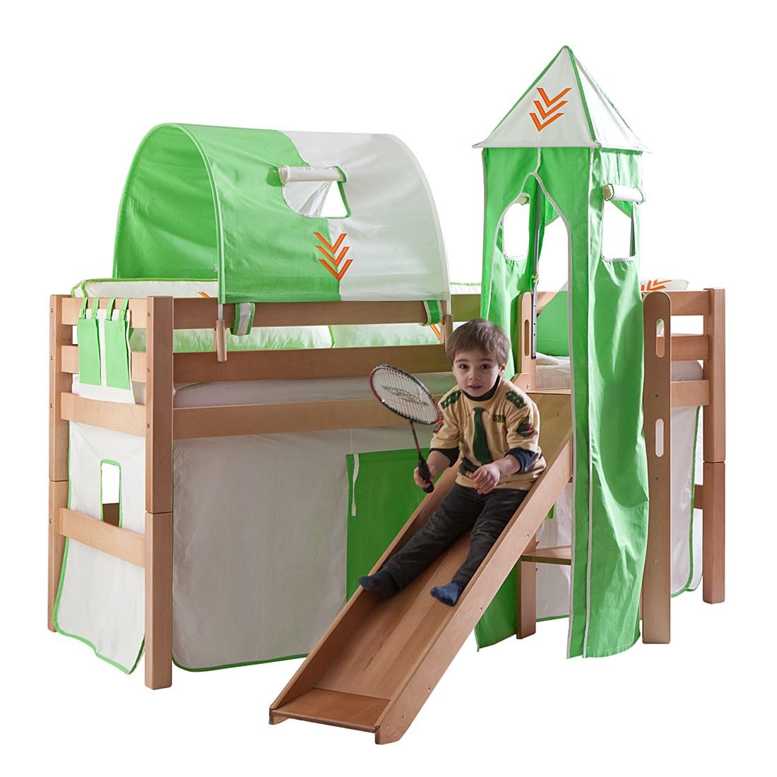 Spielbett Eliyas - mit Rutsche, Vorhang, Tunnel, Turm und Tasche - Buche natur/Textil Indianer, Relita