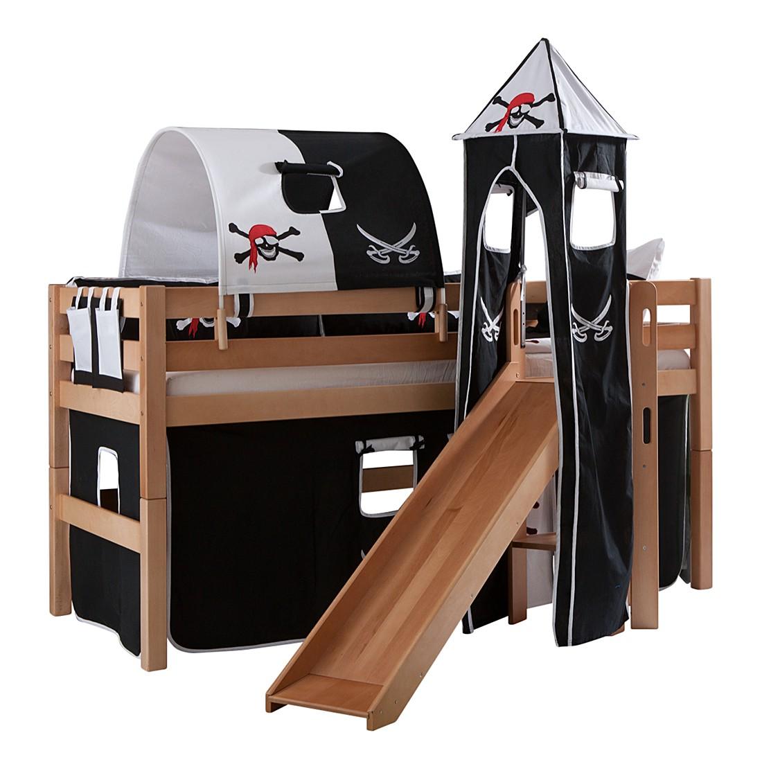 Spielbett Eliyas - mit Rutsche, Vorhang, Tunnel, Turm und Tasche - Buche natur/Textil Pirat, Relita