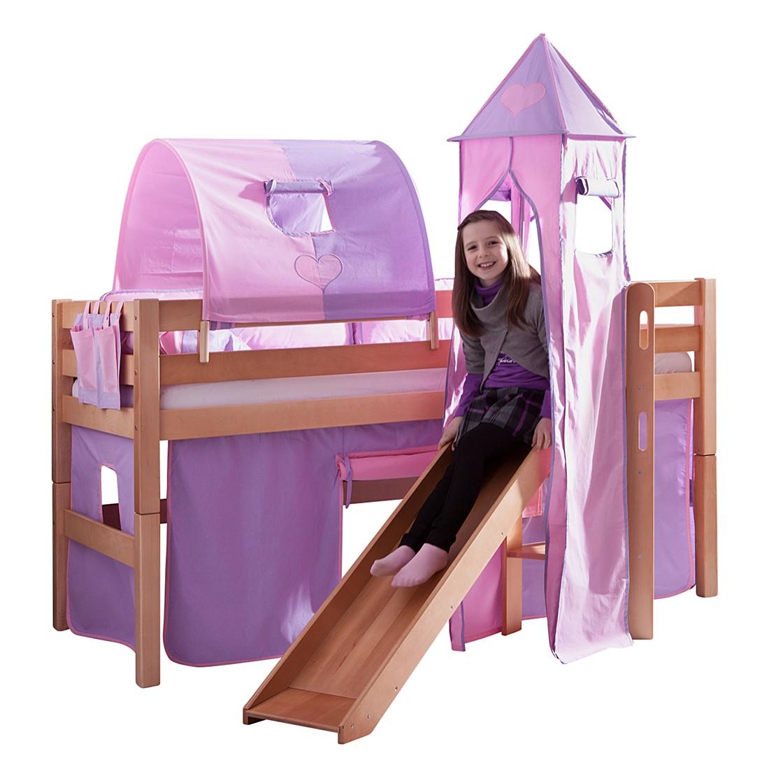 Spielbett Eliyas - mit Rutsche, Vorhang, Tunnel, Turm und Tasche Buche natur/Textil purple-rosa-herz, Relita