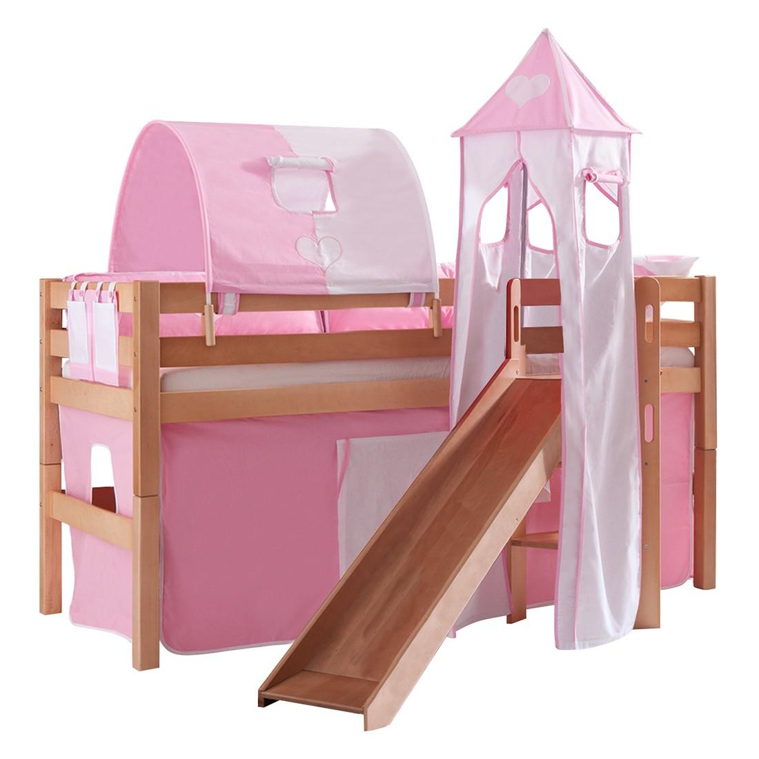 Spielbett Eliyas - mit Rutsche, Vorhang, Tunnel, Turm und Tasche - Buche natur/Textil rosa-weiß-herz, Relita